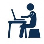 Icon of employee working at a desk