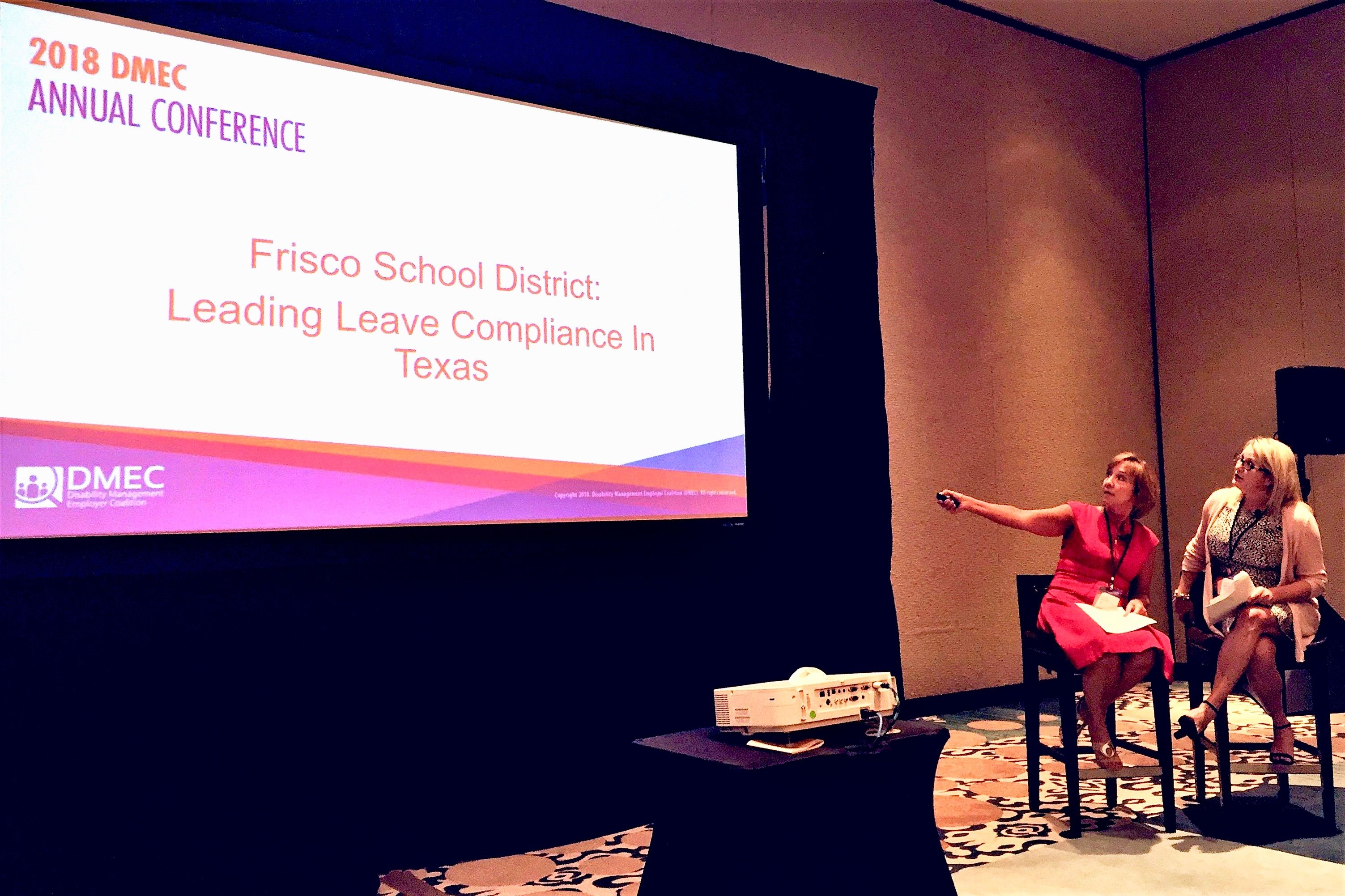 Brenna Rose and Jessica Gilbert present the session, Frisco School District: Leading Leave Compliance at DMEC Annual