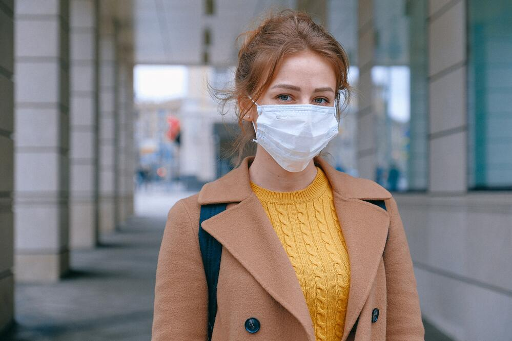 Employee wearing a mask to keep her and her coworkers safe