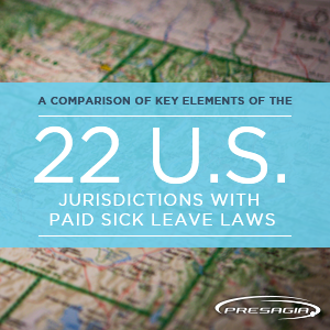 Comparison of key elements of 22 US jurisdictions with paid sick leave laws