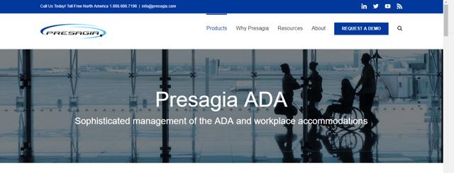 Screenshot of Presagia ADA on the New Website