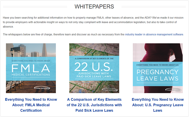 Presagia New Website: Whitepapers Page